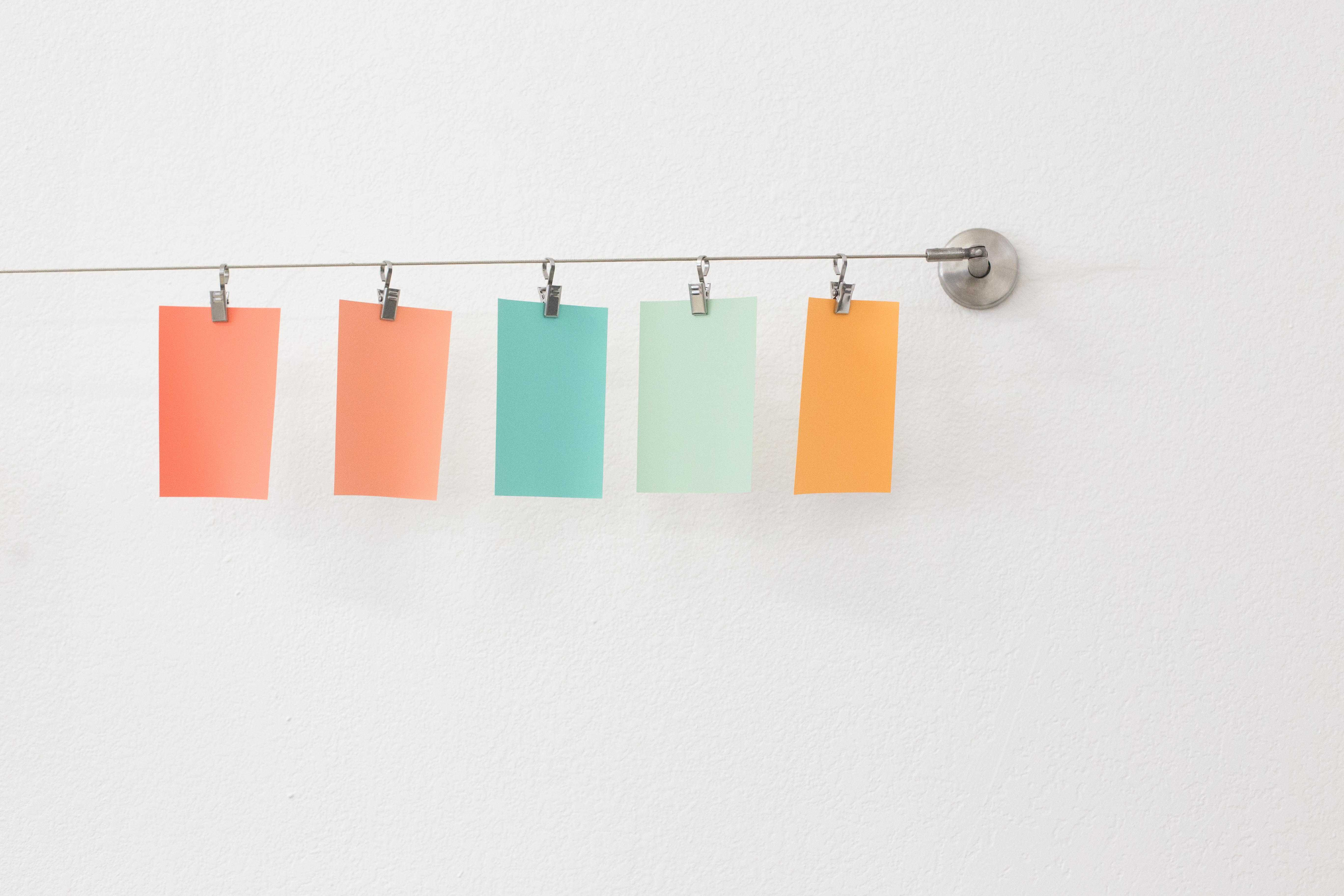 Colored paper on a line