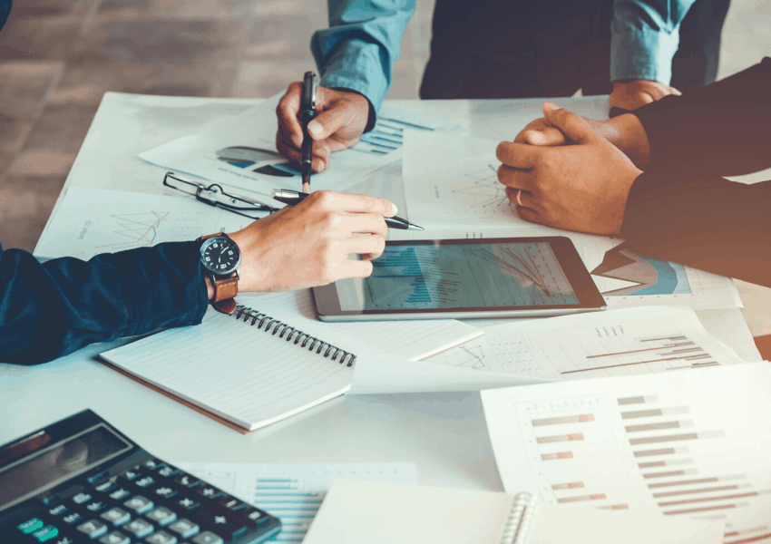 Team creating a business plan
