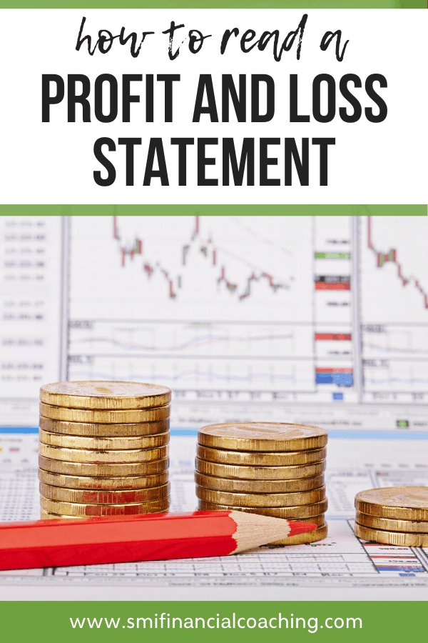 profit and loss statement with a stack of gold coins and a red pencil