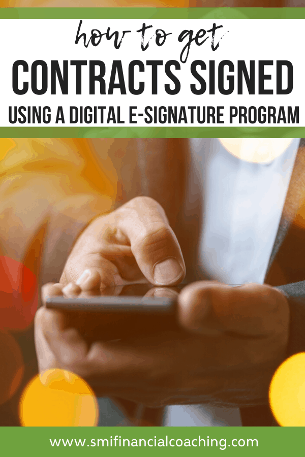 man digitally signing contract with phone.