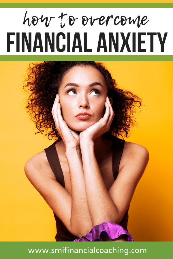 pinterest graphic with woman who has financial anxiety