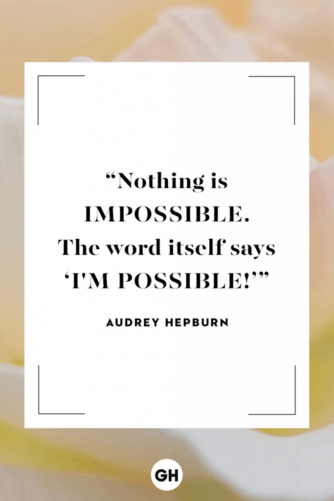 Motivational quote from Audrey Hepburn