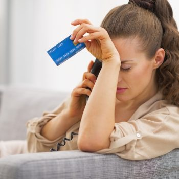 Frustrated business owner in credit card debt