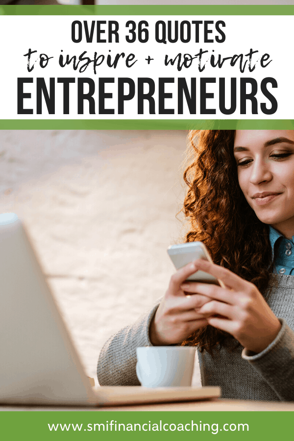 woman reading entrepreneur quotes on her phone